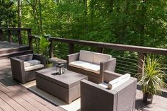 Fill your modern deck with furniture that matches the style.  Luckily outdoor furniture has come a long way and there are an enormous amount of choices for you.