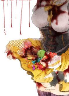 Puella Magi Madoka Magica - Mami Tomoe. Wow, that's...haunting. That's actually fucking terrifying.