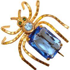 Fabulous SPIDER Blue Glass Stones Vintage Brooch