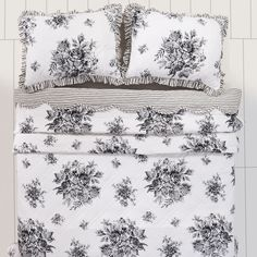 Josephine Black Queen Quilt  from CountryPorch.com Matching bedskirt, pillows, window treatments with a romantic touch to the room.