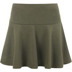 Morgana Plain Short Flared Mini Skirt (23 BGN) ❤ liked on Polyvore featuring skirts, mini skirts, khaki, short khaki skirt, short bodycon skirt, elastic waist skirt, body con skirt and mini skirt