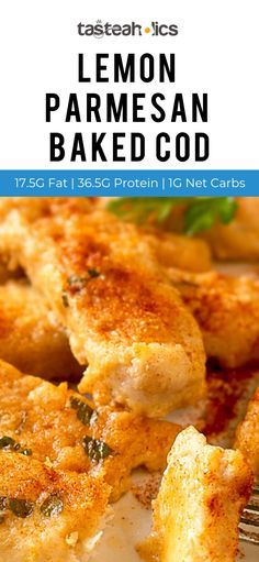Lemon Parmesan Baked Cod You won't believe just how simple it is to whip up your own plate of restaurant-worthy cod in your very own kitchen. Baked Cod Recipes, Seafood Recipes, Low Carb Recipes, Dinner Recipes, Cooking Recipes, Recipes For Cod, Healthy Cod Recipes, Pescatarian Recipes, Seafood Dinner
