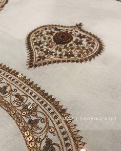 No photo description available. Embroidery Suits Punjabi, Zardosi Embroidery, Embroidery On Kurtis, Hand Embroidery Dress, Kurti Embroidery Design, Embroidery Neck Designs, Hand Embroidery Videos, Embroidery On Clothes, Embroidery Works