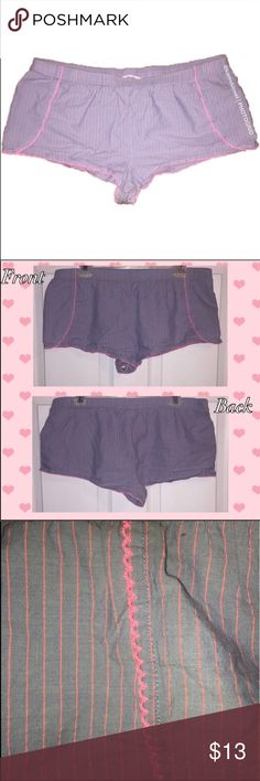 """Victoria's Secret Pink Stitched Pajama Shorts These EUC Pajama Shorts are absolutely perfect to lounge around in all day! They are so comfortable! The color is an imitated denim blue with pink stitching throughout. Pink trim lace on hems. These shorts still have tons of life in them! Waist measurements are 17.5"""" wide and 35"""" around. Made of 97% Cotton and 3% Other Fibers which make these shorts very breathable! Bundle and save! Victoria's Secret Intimates & Sleepwear Pajamas"""