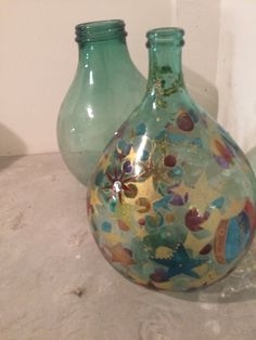 Love it his beautifully painted demijohn and another with a wide mouth opening. Found in Tuscany.