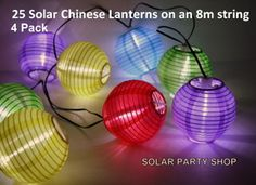 25 Multi-Coloured Solar Chinese Lanterns with Warm White LED's for Christmas, Garden or Party Decorations Outdoor Solar Lanterns, Garden Lanterns, String Lights Outdoor, Icicle Lights, Party Lights, Christmas Lights, Solar Fairy Lights, Chinese Lanterns, Christmas Fairy