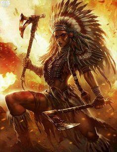 Native American warrior unknown artist (help me find them) Warrior Girl, Fantasy Warrior, Tribal Warrior, Warrior Princess, Warrior Women, Fantasy Women, Fantasy Girl, Native Art, Native American Art