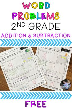 FREE Differentiated Addition & Subtraction Word Problems for Grade - Use these printable worksheets for math centers, homework, morning work, or in your small groups. Kids practice using various strategies to solve differentiated word problems. 2nd Grade Activities, 2nd Grade Math Worksheets, Free Math Worksheets, Printable Worksheets, Free Printable, Printables, Teaching Second Grade, Second Grade Math, Grade 2