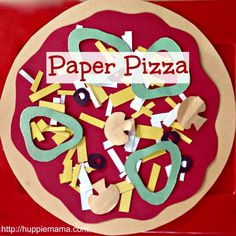 Kids Food Craft: Paper Pizza. This as an art project for kids to make their own pizza without making (too much of) a mess! Topping preference can show a lot about someone! haha