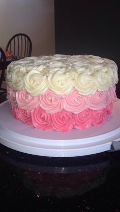 Ombré rose cake I made for Valerie's 27th birthday party