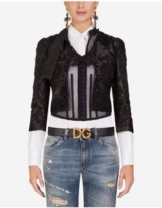 Dolce Gabbana Organza Jacket With Embroidery Jackets Lace