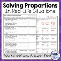 Solving proportions in real life Free on teachers pay teachers 6th Grade Worksheets, Math Practice Worksheets, Algebra Activities, Maths, Math Classroom, Future Classroom, Teaching Math, Proportion Math, Ratio And Proportion Worksheet