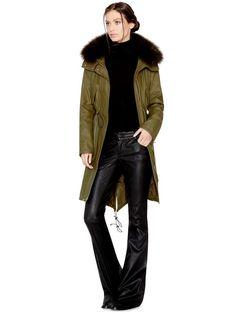 Splurge: Jessica Alba's SoHo Shopping alice + olivia Olive Quinton Long Hooded Parka and Gucci New Banana Marrakech Medium Leather Shoulder Bag