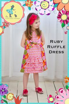 PATTERN: Ruby Ruffle Dress - Original Printed Sewing Pattern - Size 6 Month through 10 Years via Etsy