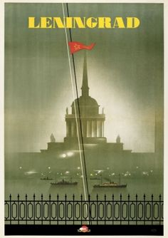 High quality giclee fine art reprint of a 1935 Soviet travel poster for Leningrad (now St Petersburg) by N Zhukov designed for the State Travel Company Intourist, available at www.AntikBar.co.uk.