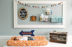 Little man's changing station and peg board