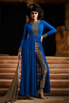 Blue Colour Georgette Fabric Designer Semi Stitched Salwar Kameez Comes With Matching Dupatta and Bottom Fabric. This Suit Is Crafted With Embroidery. This suit Comes as Semi Stitched and It can be St...: