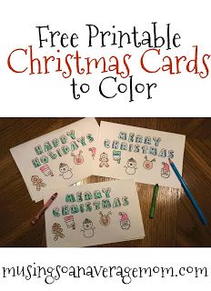 Free printable Christmas cards to color Free Printable Christmas Cards, Cute Christmas Cards, Christmas Colors, Christmas Crafts, Christmas Ornament, To Color, Color Card, Holiday Activities, Holiday Crafts