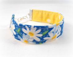 Fabric Bracelet White Daisy Reversible Bracelet Blue and Yellow White Polka Dots Spring Bracelet Cute Bracelet Tween Jewelry Teen Bracelet by foreverandrea on Etsy