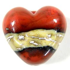 Earthy southwestern style coral orange handmade lampwork heart shaped bead with a silvered ivory band wrapped with fine silver. These southwestern style handmade heart beads are so scrumptious. I lo Handmade Beads, Handmade Crafts, Handmade Products, Large Hole Beads, Coral Orange, Christmas Countdown, Bead Art, Lampwork Beads, Valentine Day Gifts