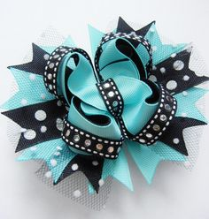 Layered Aqua/Black Boutique Style Bow