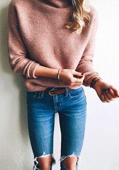 spring fashion  Pink Knit & Destroyed Denim