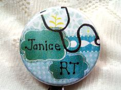 country blue and green id badge holder for respiratory therapist,gift for…
