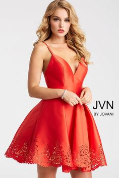Fit and flare red short dress features pleated laser cut skirt and spaghetti straps bodice with v neck and open Jovani Dresses, Satin Dresses, Elie Saab, Short Dresses, Formal Dresses, Wedding Dresses, Sexy Dresses, Romantic Dresses, Modest Wedding