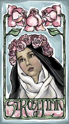 St. Rose of Lima Prayer Card by ModHMary on Etsy