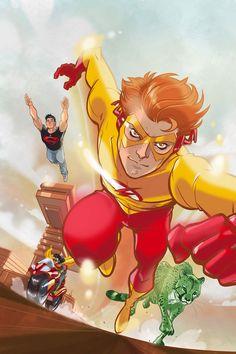 "Bartholomew ""Bart"" Allen II (Kid Flash/Flash/Impulse) Superhuman speed granting abilities similar to those of the Flash (Debut: Young Justice Characters, Dc Comics Characters, Kid Flash, Beast Boy, Teen Titans Go, Supergirl, Comic Books Art, Comic Art, Book Art"