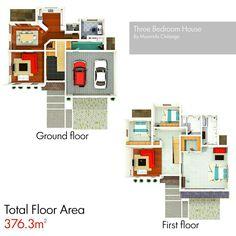 3 bedroom House Floor Plan thezambianarchitect.wordpress.com #Zambia ...