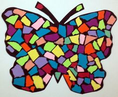 Torn paper mosaic butterfly- grades art for kids детское творчество, по Paper Mosaic, Mosaic Crafts, Mosaic Art, Mosaic Glass, Glass Art, Butterfly Project, Butterfly Pattern, Kindergarten Art, Elementary Art