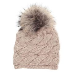 INVERNI Cable woven cashmere beanie with a fox fur pom pom (505 BGN) found on Polyvore