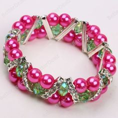 "Dark Pink Round & Green Crystal Bead 7"" Bangle Bracelet"