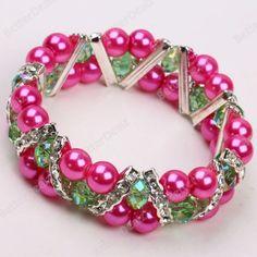 "Dark Pink Round & Green Crystal Bead 7"" Bangle Bracelet"