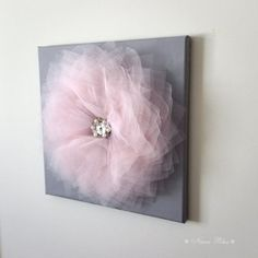 Flower Wall Art Pink and Gray Flower Decor Home Styling by NaraRha