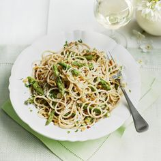 farro spaghetti with asparagus and pine nuts farro spaghetti with ...