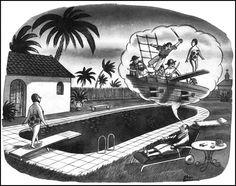 Charles Addams_swimming pool Original Addams Family, Addams Family Cartoon, Addams Family Quotes, Addams Family Tv Show, Addams Family Values, Adams Family, Los Addams, Charles Addams, Art