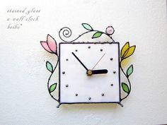 [sold]ステンドグラス*掛け&置き時計・アラベスクm