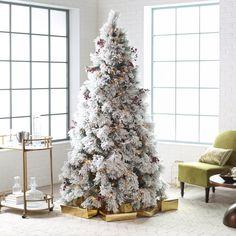 Belham Living 7.5 ft. Flocked Pine Needle Slim Pre-Lit Christmas Tree with Berries and Pine Cones | from hayneedle.com