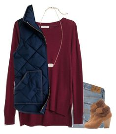 """""""Navy & Red"""" by meljordrum ❤ liked on Polyvore featuring Abercrombie & Fitch, Madewell, Kendra Scott, J.Crew, rag & bone, women's clothing, women, female, woman and misses"""