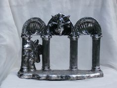 Towle Silver Plate Nativity Back Ground Piece, Stand for Figures for Christmas