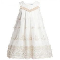 Lesy - Ivory and Gold Tulle Knee Length Dress | Childrensalon