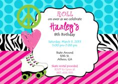 Printable Roller Skating Party Invitation.  Peace, Love & Skate Printable Party Invitation. on Etsy, $8.00