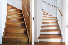 Tre veier til ny trapp - Fornyelse av trapp - ifi. Painted Staircases, Painted Stairs, Staircase Makeover, Stair Storage, House Stairs, Modern Farmhouse Decor, Hallway Decorating, Staircase Design, Home Fashion