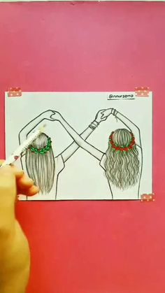 Bff Drawings, Cute Easy Drawings, Art Drawings Beautiful, Art Drawings For Kids, Anime Girl Drawings, Art Drawings Sketches Simple, Pencil Art Drawings, Art Painting Gallery, Foto Jimin