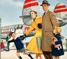 """Over the rivers and over the woods… to Grandmother's house we go.""  Ad detail from 1951 TWA ad."