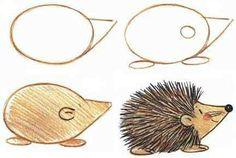 Apprendre à dessiner aux enfants, étape par étape! 17 animaux faciles à dessiner à partir d'ovales! – Trucs et Bricolages - Monde Des Animaux Doodle Drawings, Cartoon Drawings, Animal Drawings, Easy Drawings, Doodle Art, Drawing Lessons, Drawing Techniques, Art Lessons, Drawing For Kids