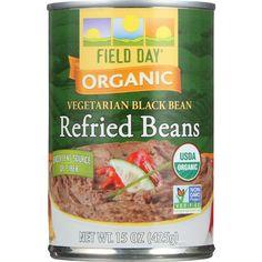 Field Day Beans - Organic - Vegetarian - Refried - Black - 15 Oz - Case Of 12