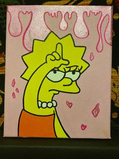 hippie painting ideas 697072848562658218 - Loser Lisa Simpson painting – – Source by Small Canvas Paintings, Easy Canvas Art, Small Canvas Art, Easy Canvas Painting, Cute Paintings, Simple Acrylic Paintings, Mini Canvas Art, Easy Art, Painting Tools